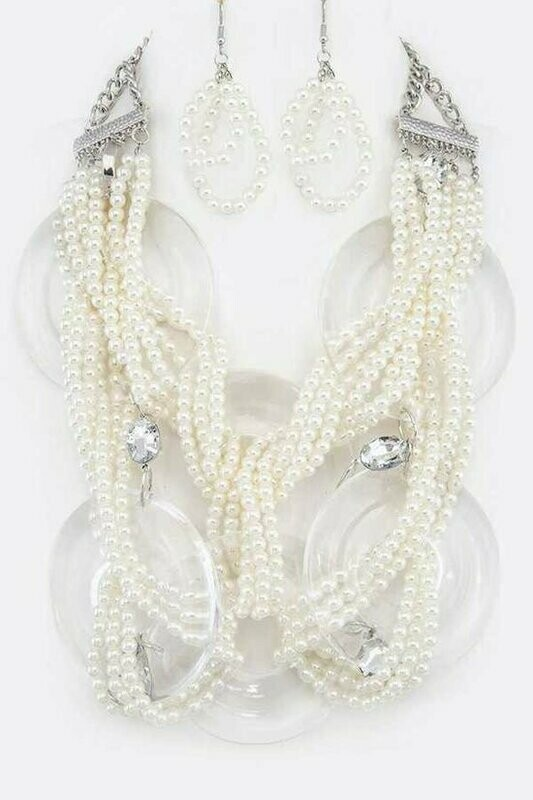 Acrylic Ring And Pearl Braided Statement Necklace Set