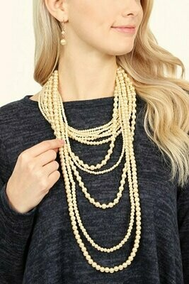 Long Multilayered PEARL LAYER AND EARRING SET