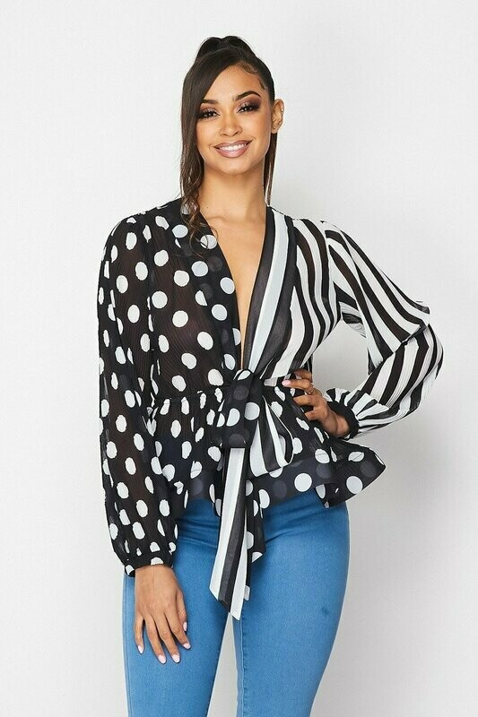 Stylish V NECK FLARE HEM LONG SLEEVE TOP WITH POLKA DOT AND STRIPE