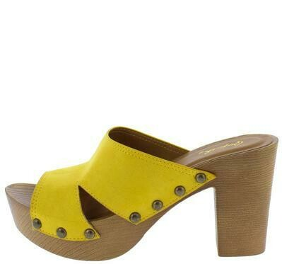 Beekler Mustard Suede Pu Peep Toe Cut Out Wood Heel
