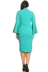 Midi length solid colored sheath dress with a mock neck.