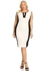Solid White and black, sleeveless midi length dress