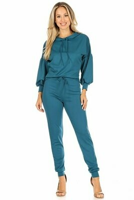 Solid 2-piece set includes hoodie with matching pant