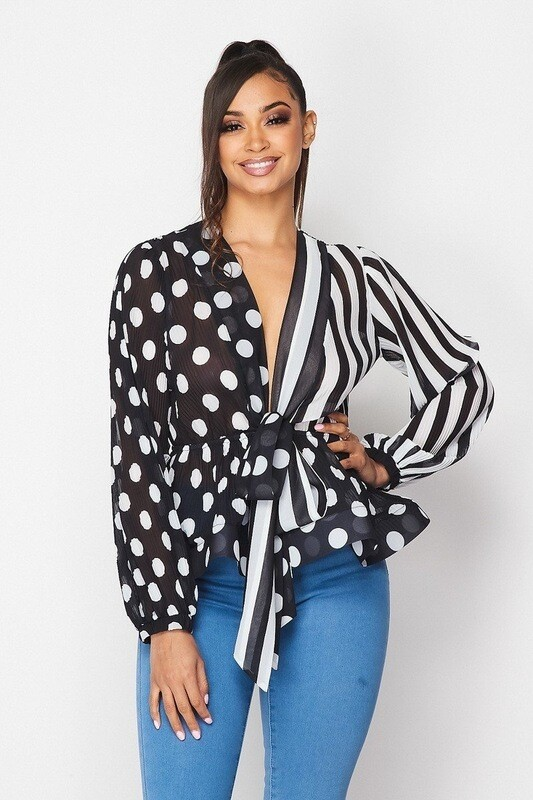 Elegant V-Neck Polka a Dot and Striped Louse with Belt