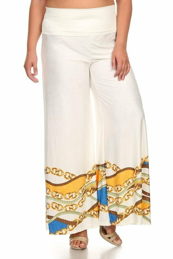 Gold chains printed palazzo style pants with fold over waistband detail