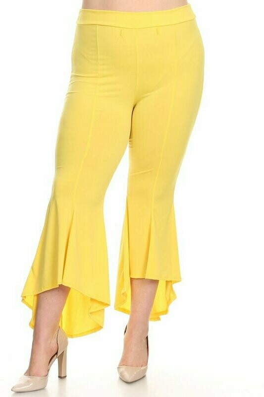 Solid high waist flared pants with a banded waist and hi-lo hem.