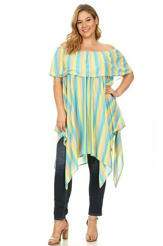 Striped off shoulder tunic with a ruffle trim layer and asymmetric hem.