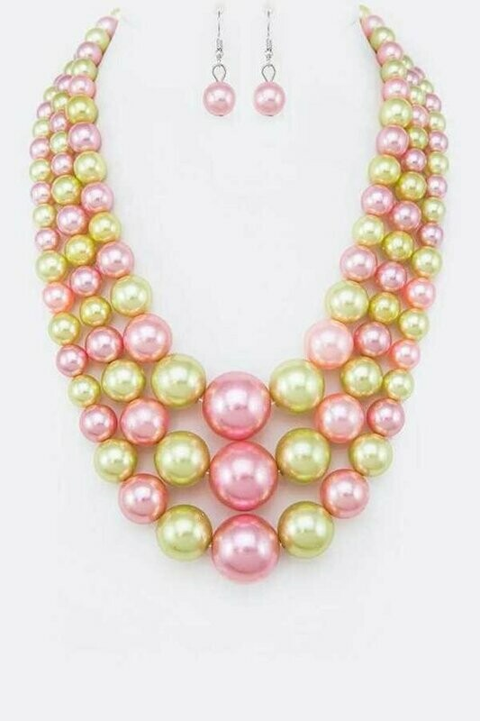 Mix Pearl Layer Statement Necklace Set