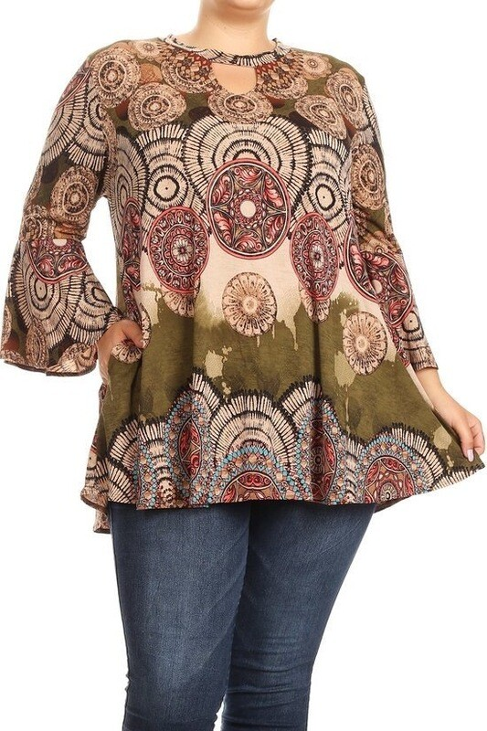 Printed 3/4 bell sleeve top with a round neckline, keyhole, and loose fit.