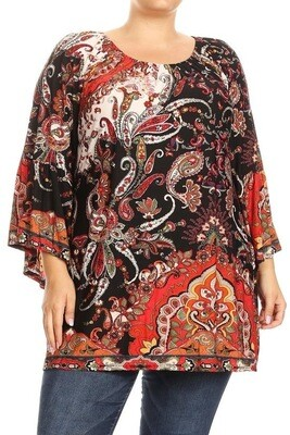 Printed 3/4 bell sleeve top with a round elastic neckline and loose fit.