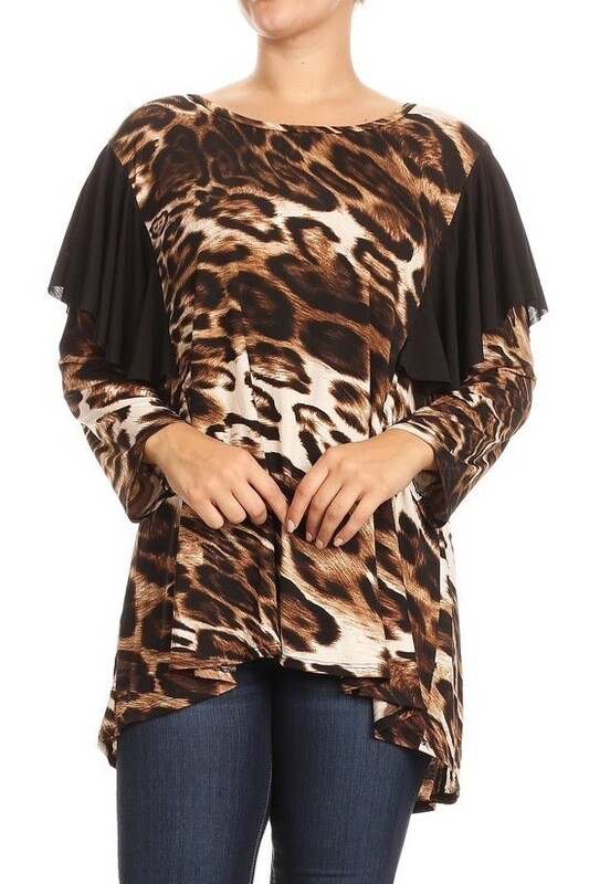 Cheetah printed long body top in a relaxed fit