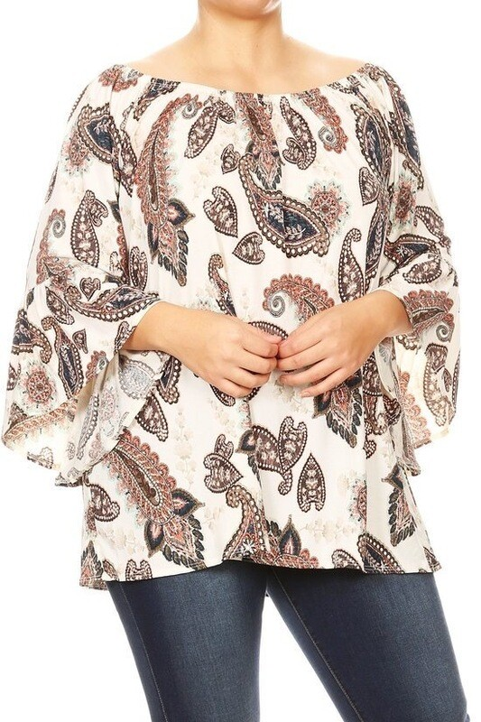 Paisley print top with 3/4 bell sleeve. Can be worn off the shoulder