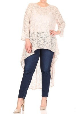 Lace 3/4 sleeve top with hi-lo hem and loose fit