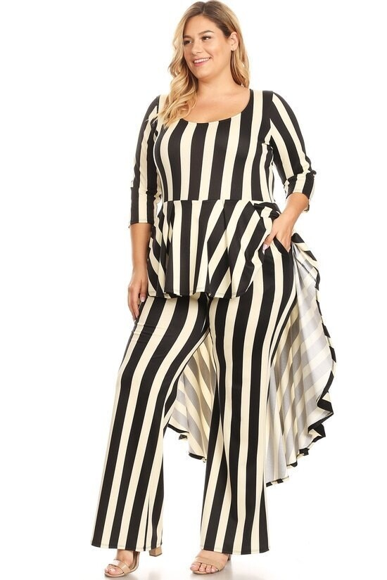 Striped 2-piece looking Set featuring a hi-lo top and matching wide leg pants.