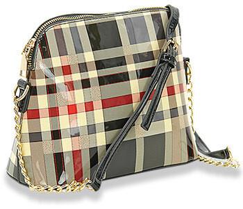 Patent Plaid Shoulder Bag