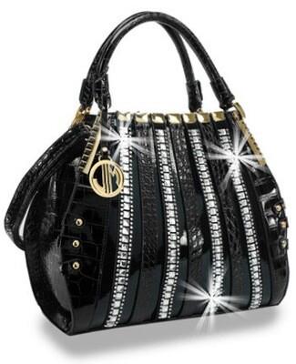 Embossed Patent Rhinestone Handbag
