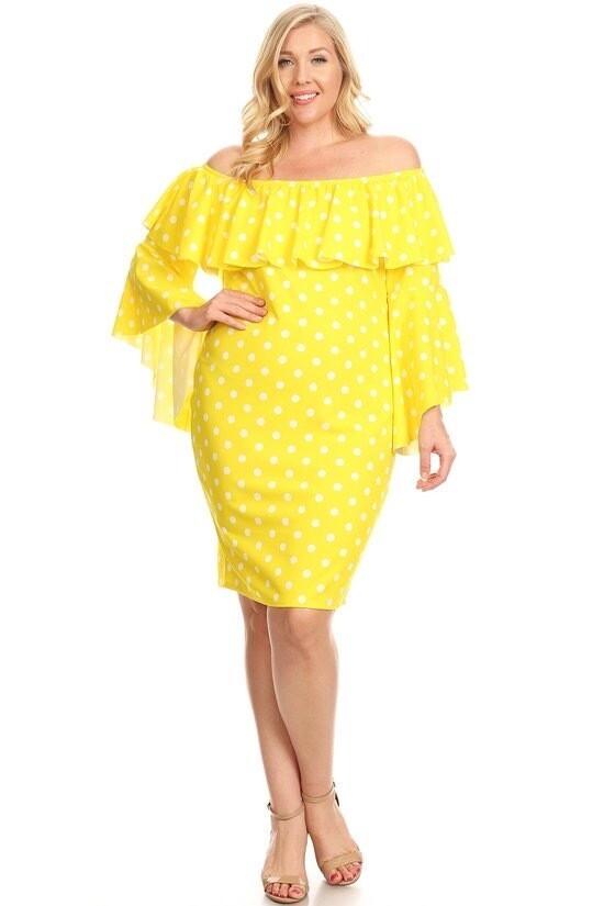 Polka dot, off shoulder short dress.