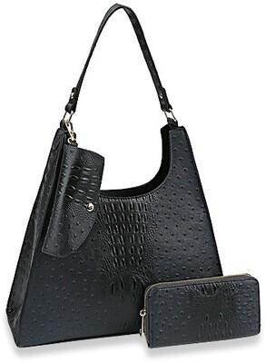 Three Piece Ostrich Skin Hobo Handbag
