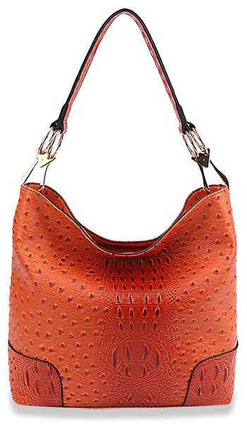 Ostrich Skin Classic Embossed Hobo Handbag