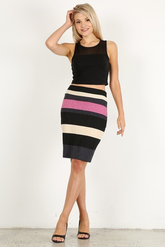 Multicolor striped, high waisted knee length skirt in a fitted style, with an elastic waistband.
