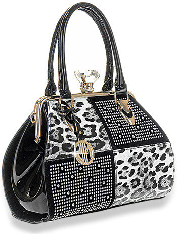 Animal Print Four Square Patent Handbag