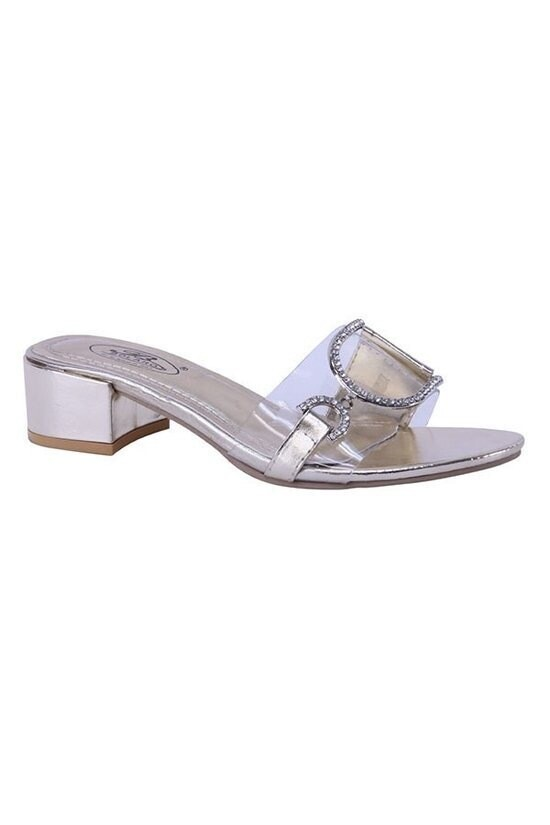 Beautiful Low Heel Rhinestone Slipper Sandal