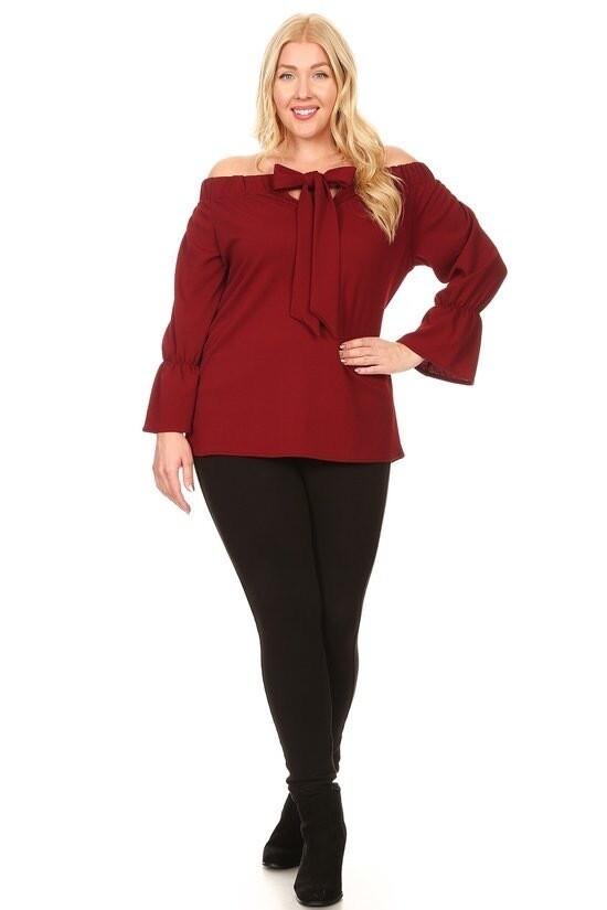 Solid, off shoulder waist length top