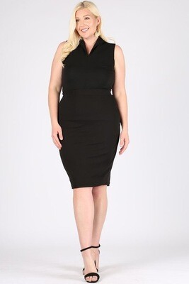 Black  high rise, fitted below the knee skirt with an elastic waistband pencil skirt.