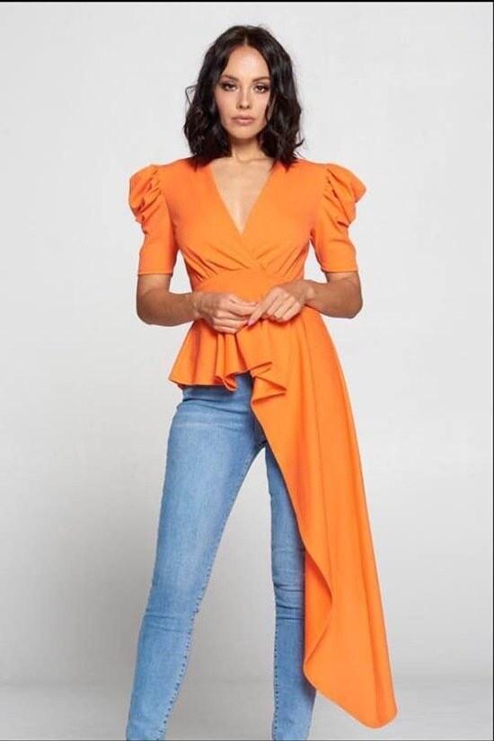 * New Style *** Solid Puff Sleeve unbalnce fashion