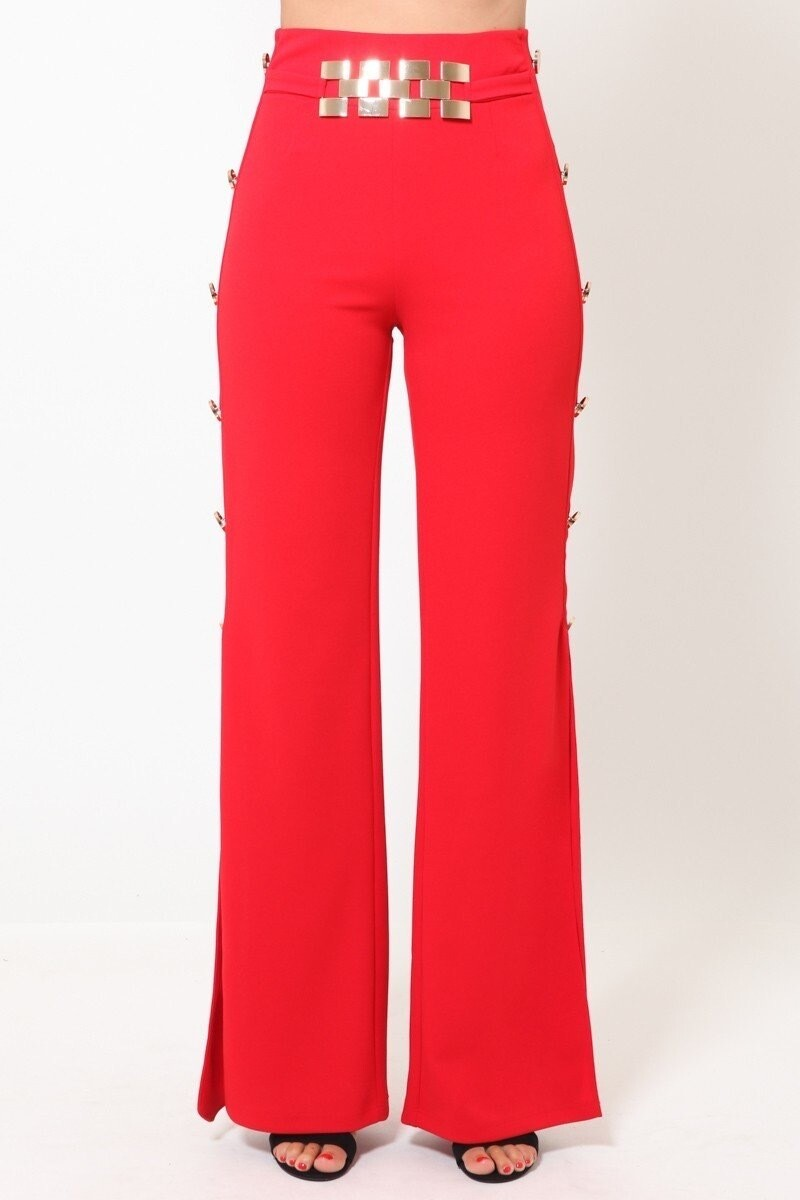 Stretchy Straight Leg Pant with Gold Tabs on Side