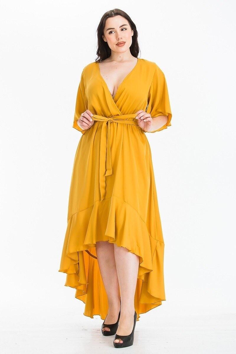 New Style *** Plus Size Wrap Deep V neck Waist tie Midi Dress with Short Sleeve