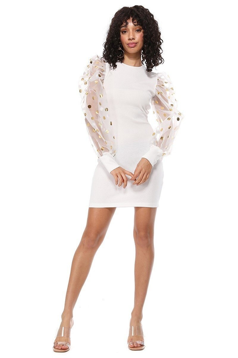 Elegant Fitted Puff Sheer and Gold Polka Dot Sleeve Dress