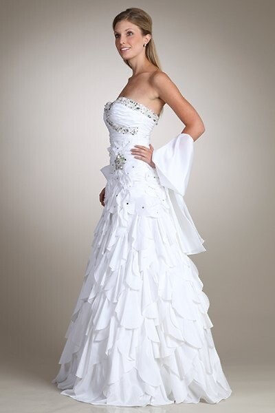 Gorgeous Strapless sweet heart top wedding gown with beads with matching shawl