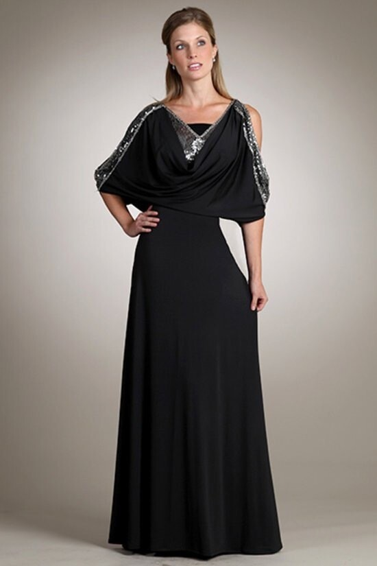 Beautiful Sheer long dress with beaded on side arms with lining