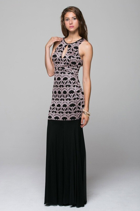 Elegant Duo fabric, body-con, cutout maxi dress