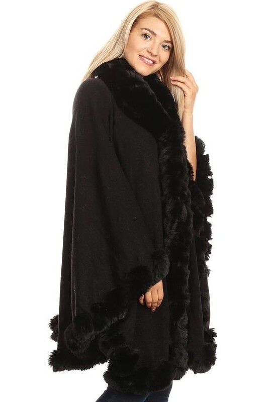Faux fur knitted long sleeves cardigan with hook & eye closure.
