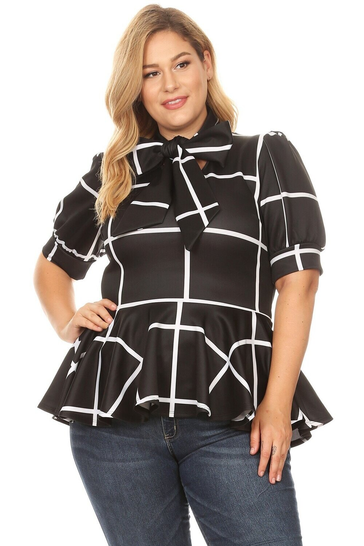 Elegant 2 Piece Checker Skirt Set