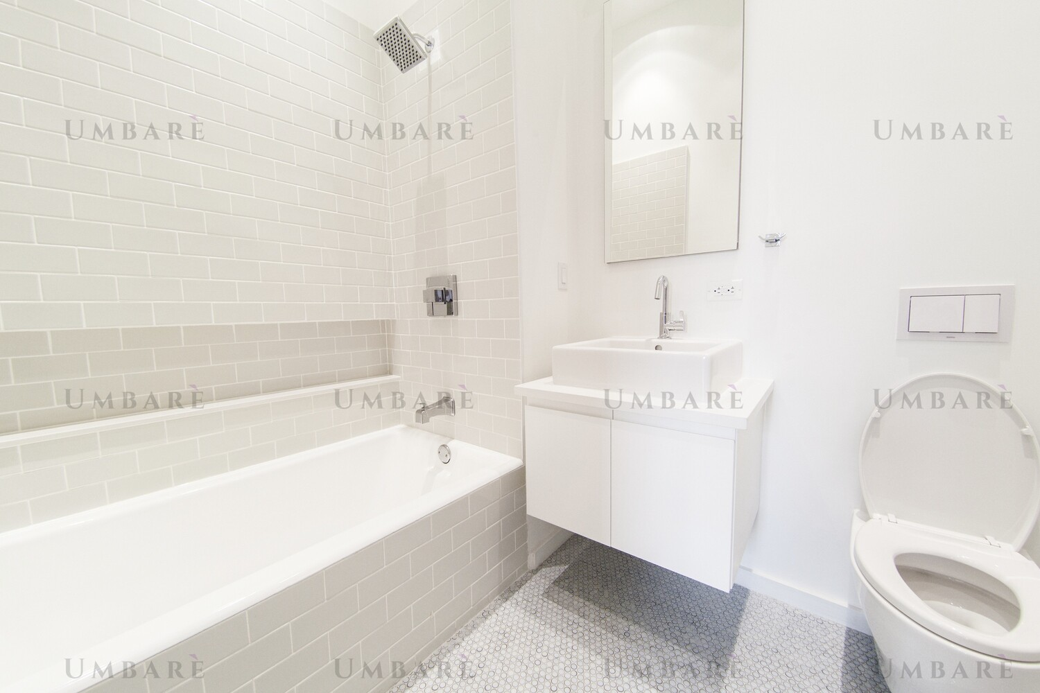 Bath Surround Tiled Walls, with New Showerhead and Controls