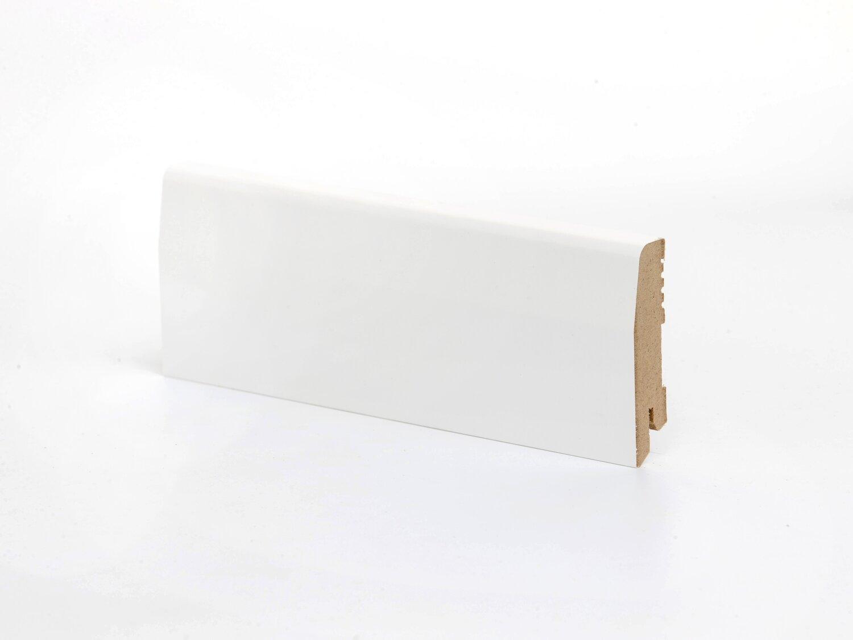 Плинтус напольный белый К-12 70 мм крашенный МДФ