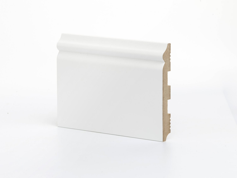 К-8 137 мм широкий белый крашенный напольный плинтус МДФ