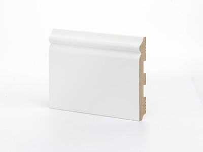 Плинтус напольный К-8 137 мм широкий белый крашенный МДФ