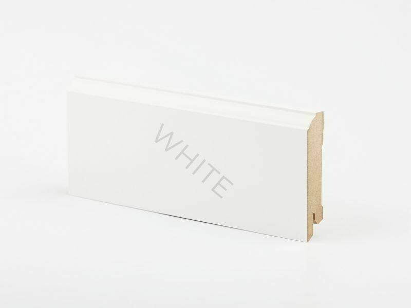 W28 - 80 мм белый напольный плинтус МДФ Deartio