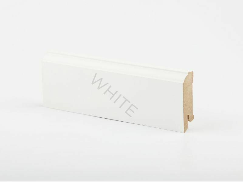 W28 - 60 мм белый напольный плинтус МДФ Deartio