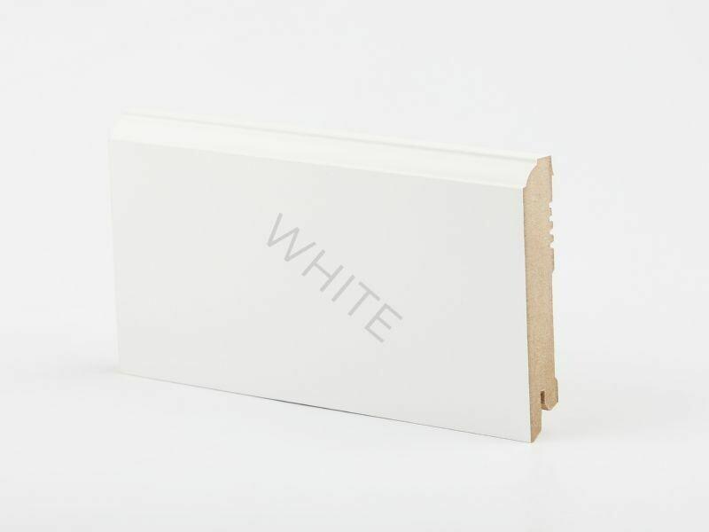 W28 - 100 мм белый напольный плинтус МДФ Deartio