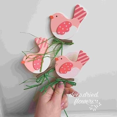 Вставка Птичка розовая 7хH20см