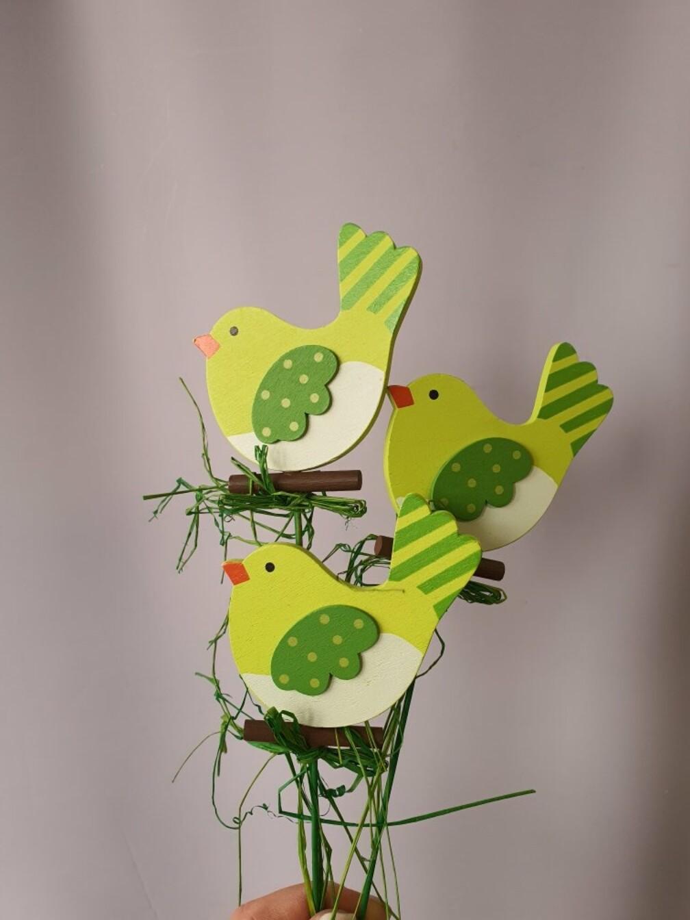 Вставка Птичка зеленая 7хH20см