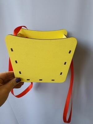 Кашпо желтое с атласными лентами Н14*17*12