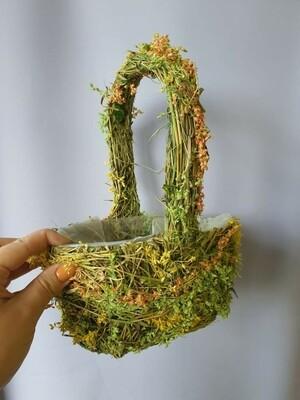 Корзина плетеная зеленая с оранжевым 20см