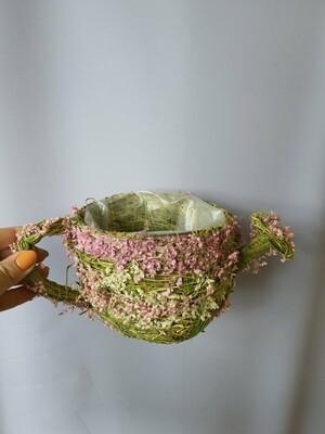 Кашпо плетеное лейка розовая 12см