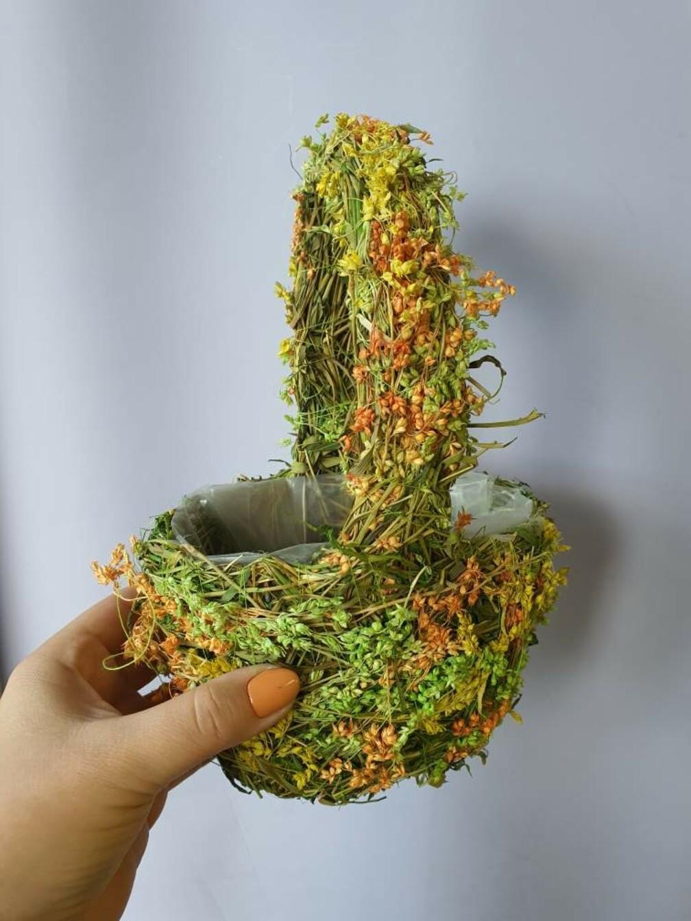 Корзина плетеная зеленая с оранжевым 15см